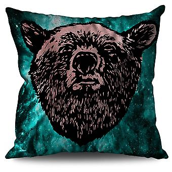 Red Bear Face Wild Linen Cushion 30cm x 30cm | Wellcoda