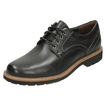 Mens Clarks Smart Lace Up schoenen Batcombe Hall - zwart leder - UK grootte 7,5 G - EU maat 41,5 - US maat 8,5 M