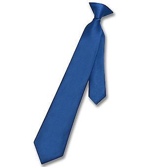 Vesuvio Napoli Boy's CLIP-ON NeckTie Solid Youth Neck Tie
