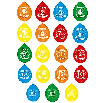 Amscan Multicoloured Numerical Happy Birthday Party Balloons (Age 1-19) (Pack Of 10)
