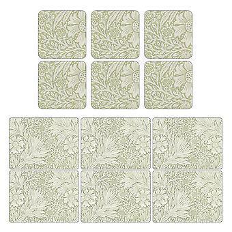 Pimpernel Ringelblume grün, Tischsets und Untersetzer-Set