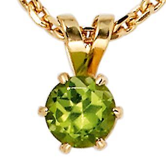 Pingente de peridoto verde pendente 585 ouro amarelo ouro 1 peridoto verde