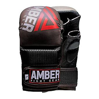 Amber Training Leather MMA Grappling Gloves Sports Equipment Black L/XL