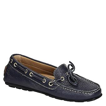 Womens driving moccasins in blue full grain leather