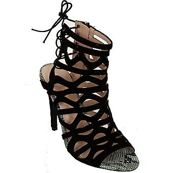 Dames Faux Suede Peep Toe Snake Skin Lace Up uitgesneden Stiletto Sandal hakken
