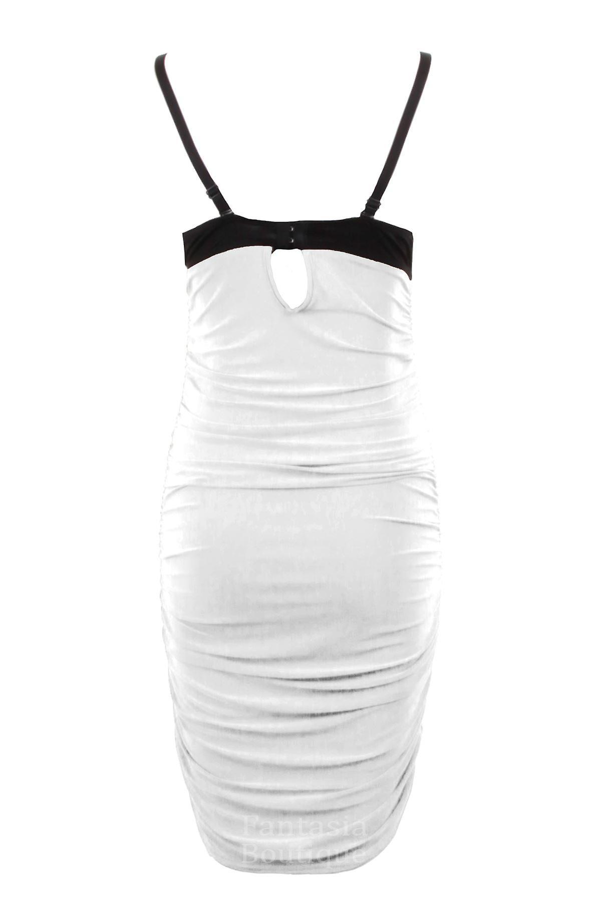Ladies Spike Studded Padded Bra Strap Black Bodycon Women's Party Dress