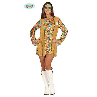 Short hippie costume ladies of 60s color of flower power