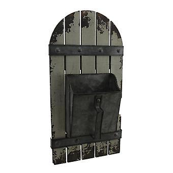 Rustieke metalen Scoop op houten hek decoratieve muur Planter