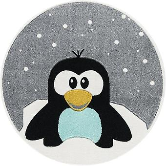 Children's bedroom carpet Round Shaped Penguin 133x133cm
