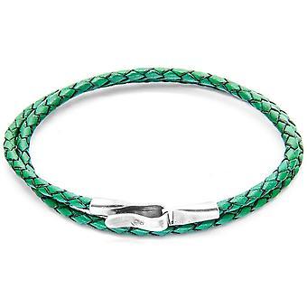 Якорь и экипажа Liverpool серебро и кожаный браслет - зеленый папоротник