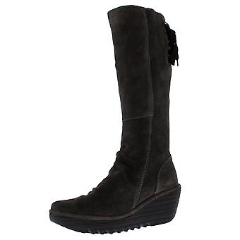 Womens Fly London Yust Oil Suede Diesel Knee Highs Winter Wedge Boots