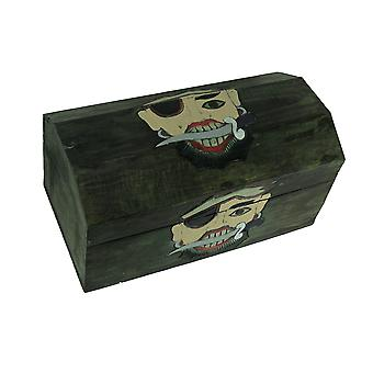 Udskåret træ Swashbuckler Pirate Treasure Chest opbevaringsboks