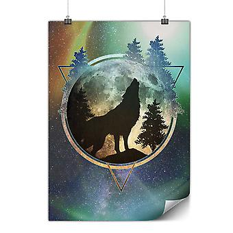 Matte or Glossy Poster with Wolf Nature Moon | Wellcoda | *y3476