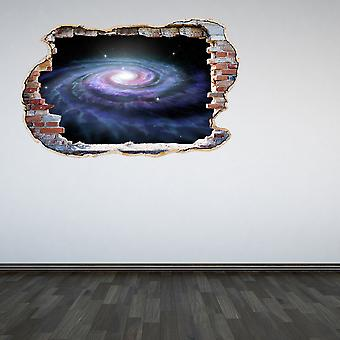 Full Colour Galaxy Smashed Wall 3D Effect Wall Sticker