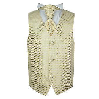 Meninos ouro casamento colete gravata lenço Set
