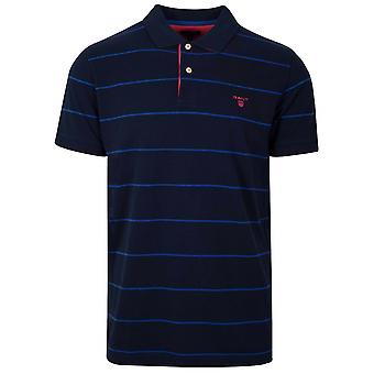 GANT Navy Blue Striped Polo Shirt