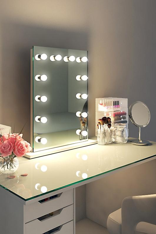 Diamond X Table Top Hollywood Audio Mirror with Dimmable LED k90sWWaud