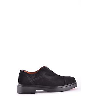 Santoni Mgwb15803nerisywn01 Men's Black Suede Lace-up Shoes