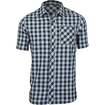 Fox Racing Mens Troubled Mind SS Woven Plaid Shirt - Citadel Blue/Black
