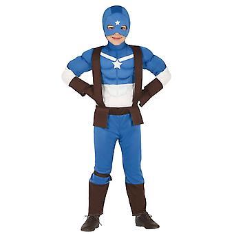 Boys Captain Superhero Fancy Dress Costume