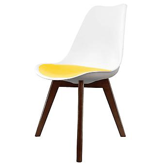 Fusion Living Eiffel Inspiré Blanc et Jaune Dining Chair with Squared Dark Wood Legs