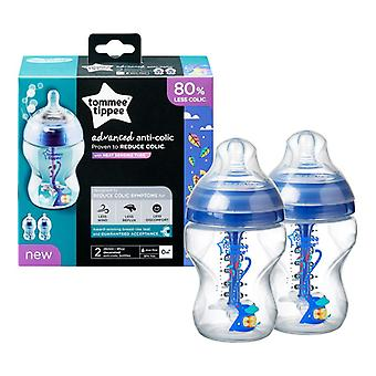 Tommee Tippee Advanced Anti-colic Bottles Decorated 260ml 2pk Blue