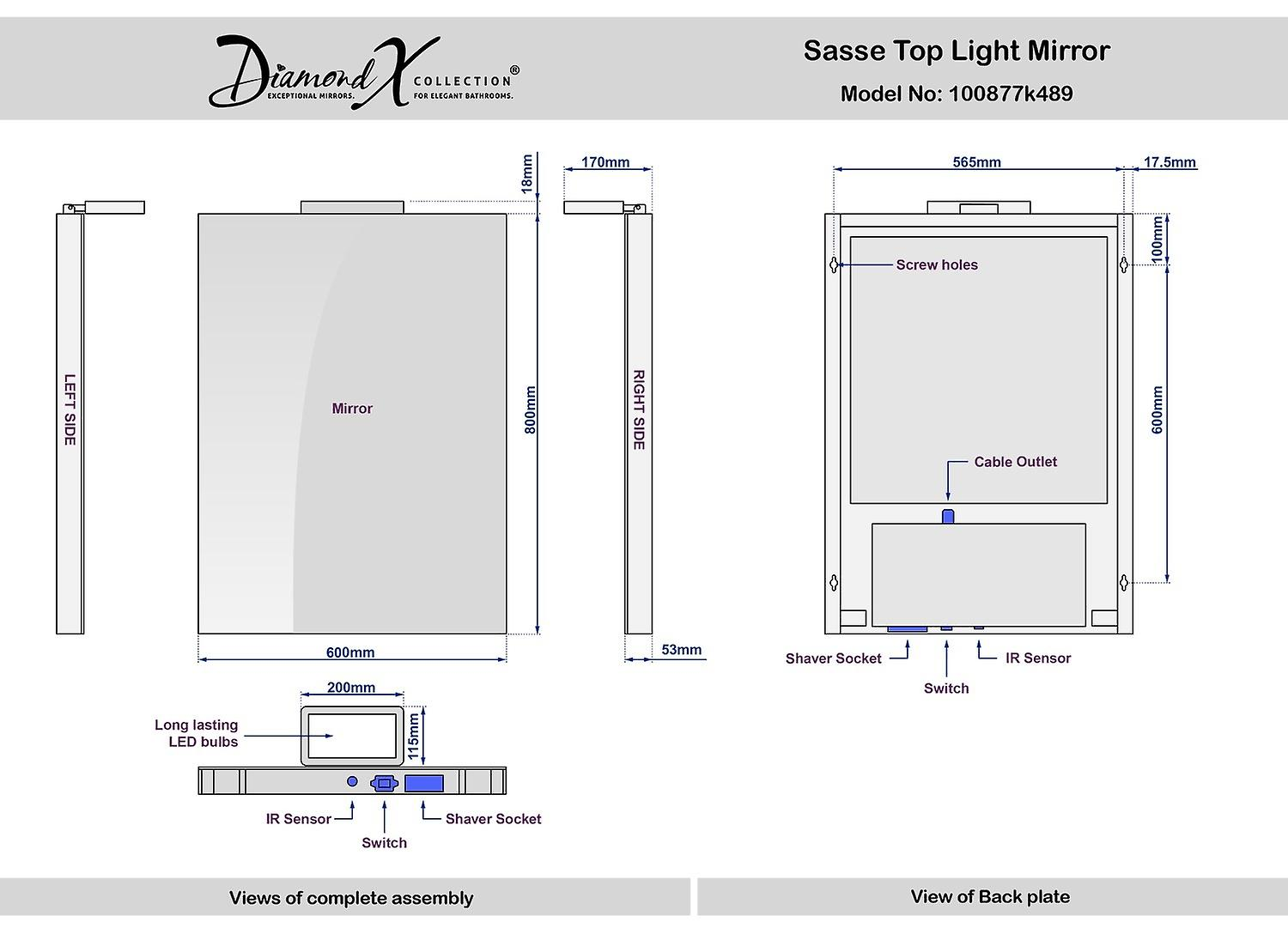 Sasse Audio Top Light Mirror with Sensor and Shaver Socket k489aud