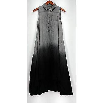 OSO Casuals Dress Hi Lo Woven Dip Dye Shirt Dress Gray Womens A432923