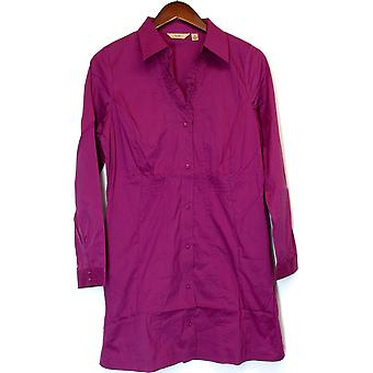 Motto Ruffle V-neck Stretch Tunic w/ Smocking Fuchsia Pink A86082