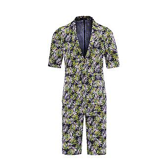 Allthemen Men's Short Sleeve Suits 2-Piece Palm Leaf Printed Short Blazer&Short Pants
