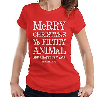 Home Alone Light Text Filthy Animal Christmas Women's T-Shirt