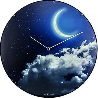 Nextime Nouveau dome verre moon dome horloge murale (Décoration , Horloges)