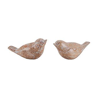 Carved albasia wood birds