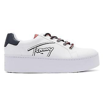 Tommy jeans ikon signatur Flatform Womens vit läder utbildare