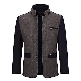 Allthemen Men's Thicked Warm Colorblocked Overcoat