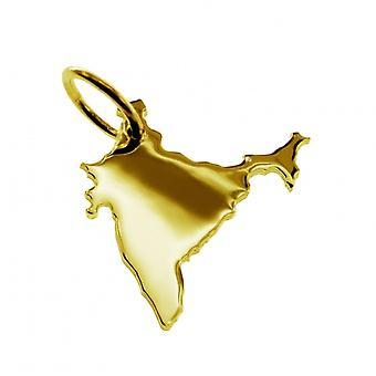 Pendentif de chaîne de carte en or jaune-or sous la forme de INDIA