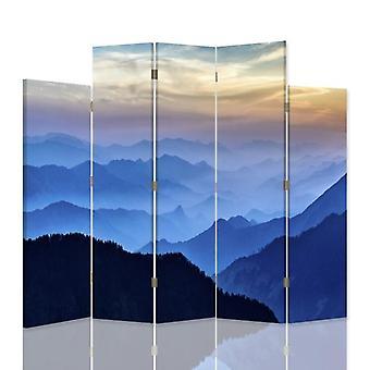 Divisor de habitación decorativa, 5 paneles, doble cara, 360o lienzo giratorio, Panorama de montañas 3
