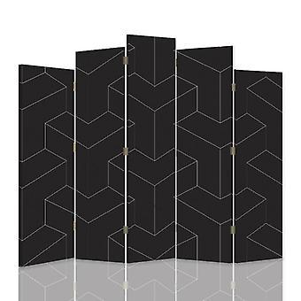 Diviseur de pièce décoratif, 5 panneaux, toile, figures géométriques