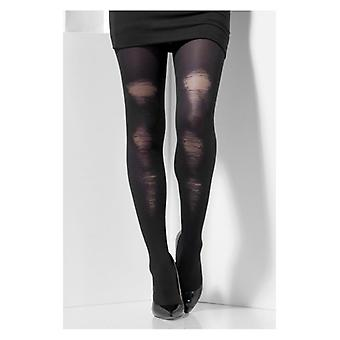 Womens Black Distressed blickdichte Strumpfhose Fancy Dress Zubehör