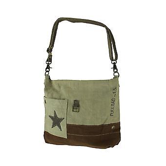 Pocket Star Upcycled canvas en echte lederen trim Cross Body schoudertas