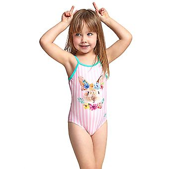 Zoggs Tropical Bunny Girl's U Back One Pieces Swimsuit in Pink Elastomax