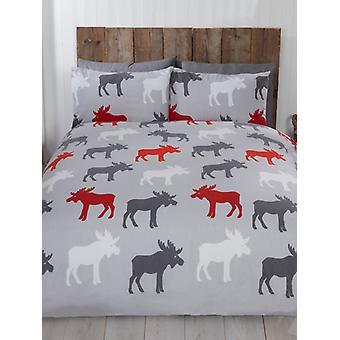 Elch gebürstet Baumwolle einzelne Bettbezug Set - grau