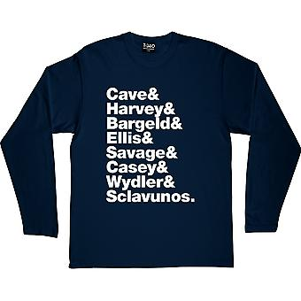 Nick Cave and the Bad Seeds Line-Up Navy Blue Long-Sleeved T-Shirt