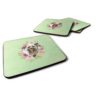 Set of 4 Chinese Crested Green Flowers Foam Coasters Set of 4