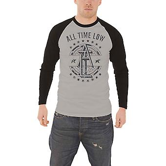 All Time Low T Shirt band logo Emblem new Official Mens Grey Baseball Shirt