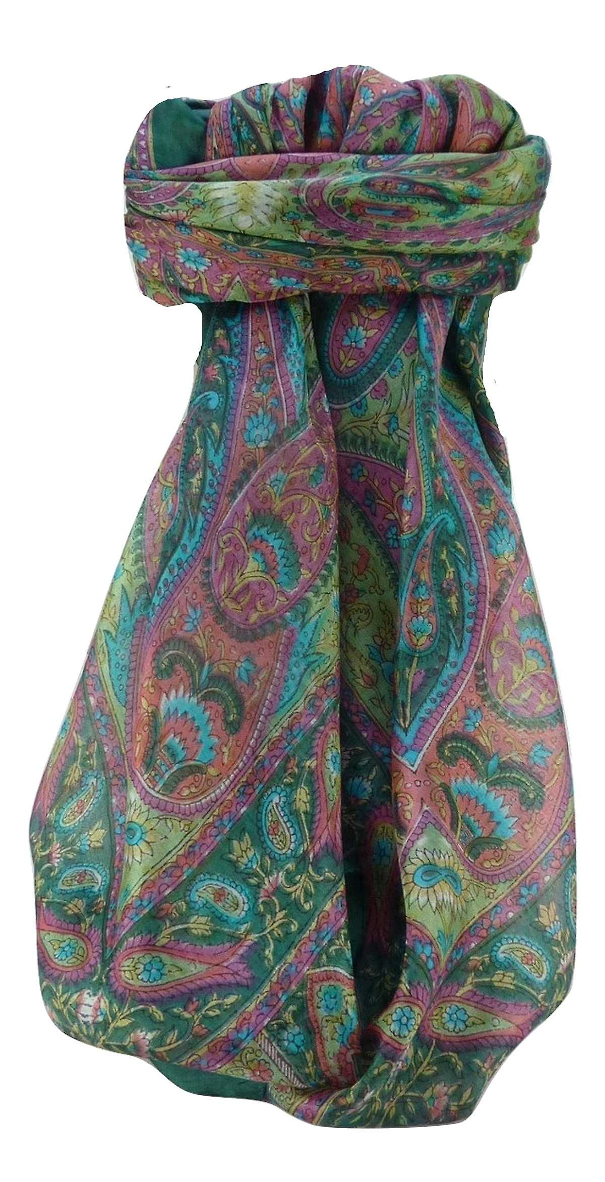 Mulberry Silk Traditional Square Scarf Keshar Sage by Pashmina & Silk