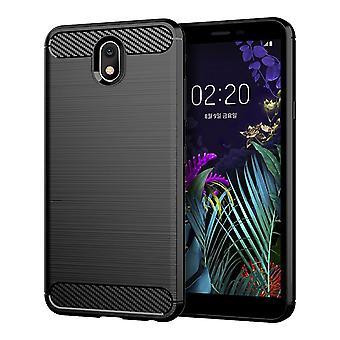 LG K30 2019 TPU Case koolstofvezel Opticbrushed beschermende case zwart