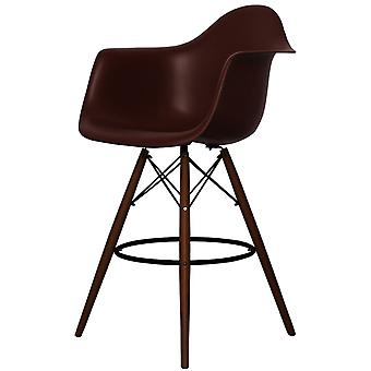 Charles Eames Style Coffee Brown Plastic Bar Stool With Arms - Walnut Legs