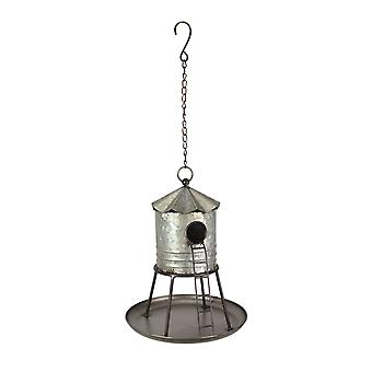 Galvanized Metal Hanging Birdhouse Distressed Silo Rustic Water Tower Feeder
