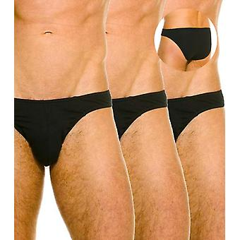 Contour brief pack of 3 black stretch cotton